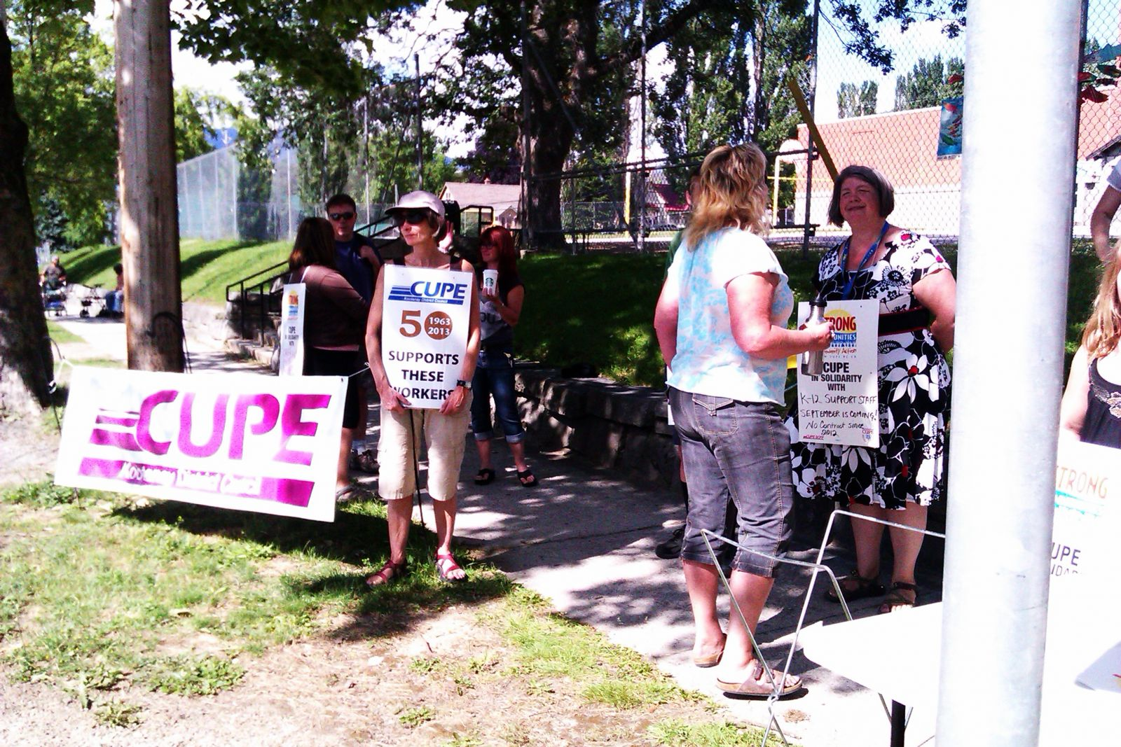 CUPE Local 748 members activate their strike mandate Wednesday in Nelson.