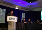 CUPE BC President Mark Hancock addresses delegates at the BCSTA annual general meeting.